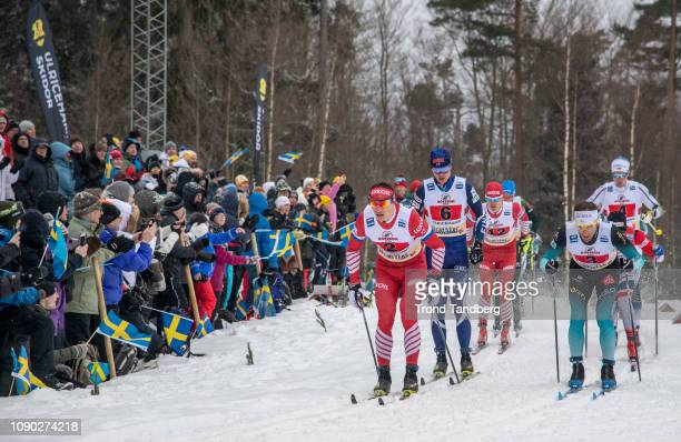Andrey Larkov of Russia Perttu Hyvarinen of Finland Evgenly Belov of Russia Jean Marc Gaillard of France during FIS WC Men 4 x 75 km Relay Classic/...