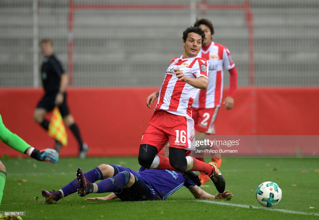 Andrey Lebedev of Dinamo Brest and Philipp Hosiner of 1 FC Union Berlin during the game between Union Berlin and FK Dinamo Brest on october 5, 2017 in Berlin, Germany.