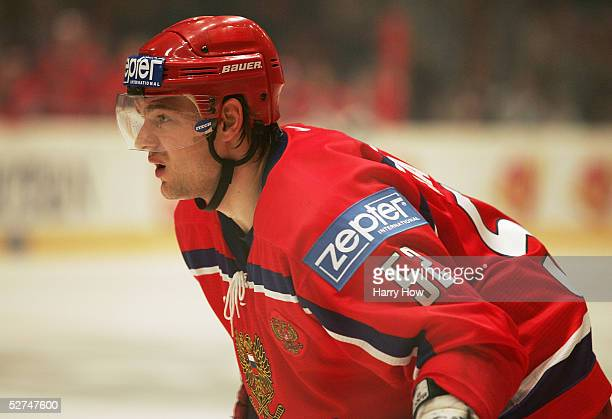 Andrey Markov of Russia takes a break against Austria in the IIHF World Men's Championships preliminary round game at Wiener Stadthalle on April 30...