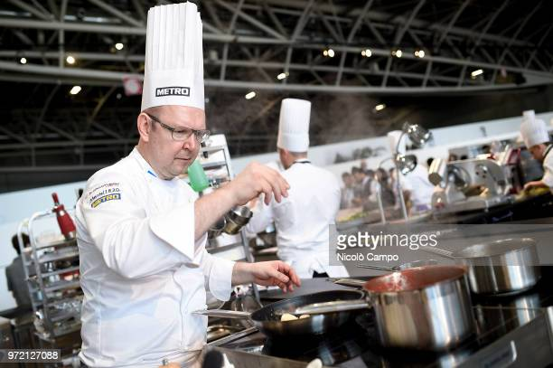 Andrey Matuha of Russia cooks during the Europe 2018 Bocuse d'Or International culinary competition Best ten teams will access to the world final in...