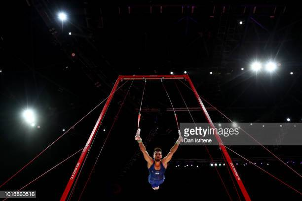 Andrey Medvedev of Israel competes in Rings in subdivision 2 on Day Seven of the European Championships Glasgow 2018 at The SSE Hydro on August 9...