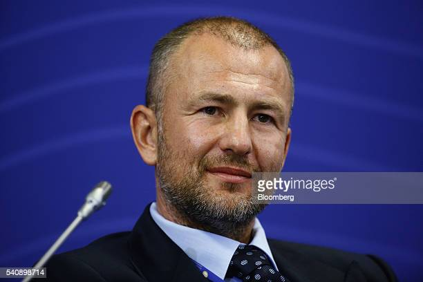Andrey Melnichenko billionaire and chairman of EuroChem AG looks on during a panel session on day two of the St Petersburg International Economic...