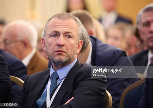 Andrey Melnichenko billionaire and owner of EuroChem Group AG sits in the audience at a Russian Union of Industrialists and Entrepreneurs event in...