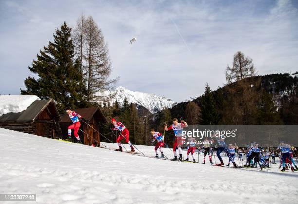 Andrey Melnichenko of Russia Alexander Bolshunov of Russia Simen Hegstad Krueger of Norway Sjur Roethe of Norway Martin Johnsrud Sundby of Norway and...