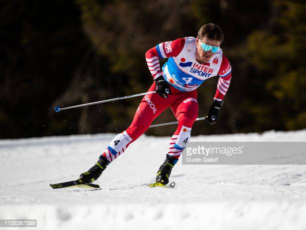 Andrey Melnichenko of Russia competes in the Men's 50km Cross Country mass start during the FIS Nordic World Ski Championships on March 3 2019 in...