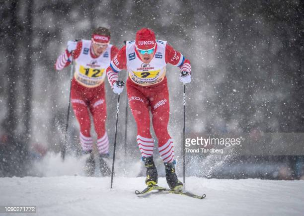 Andrey Melnichenko of Russia Denis Spitsov of Russia during FIS WC Men 4 x 75 km Relay Classic/ Free on January 27 2019 in Ulricehamn Sweden