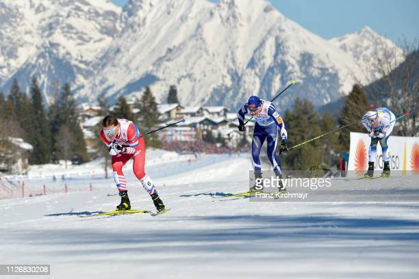 Andrey Melnichenko of Russia during the Men's Cross Country Skiathlon at the FIS Nordic World Ski Championships at Langlauf Arena Seefeld on February...