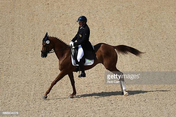 Andrey Mitin of Russia riding Gurza competes in the Eventing Team Dressage event during equestrian on Day 2 of the Rio 2016 Olympic Games at the...