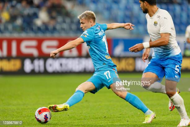 Andrey Mostovoy of Zenit in action during the Russian Premier League match between FC Zenit Saint Petersburg and FC Sochi on October 3, 2021 at...