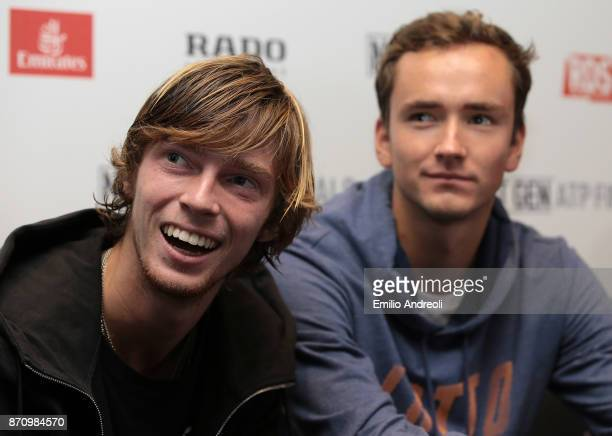 Andrey Rublev and Daniil Medvedev of Russia look on during the Next Gen ATP Finals Media Day on November 6 2017 in Milan Italy