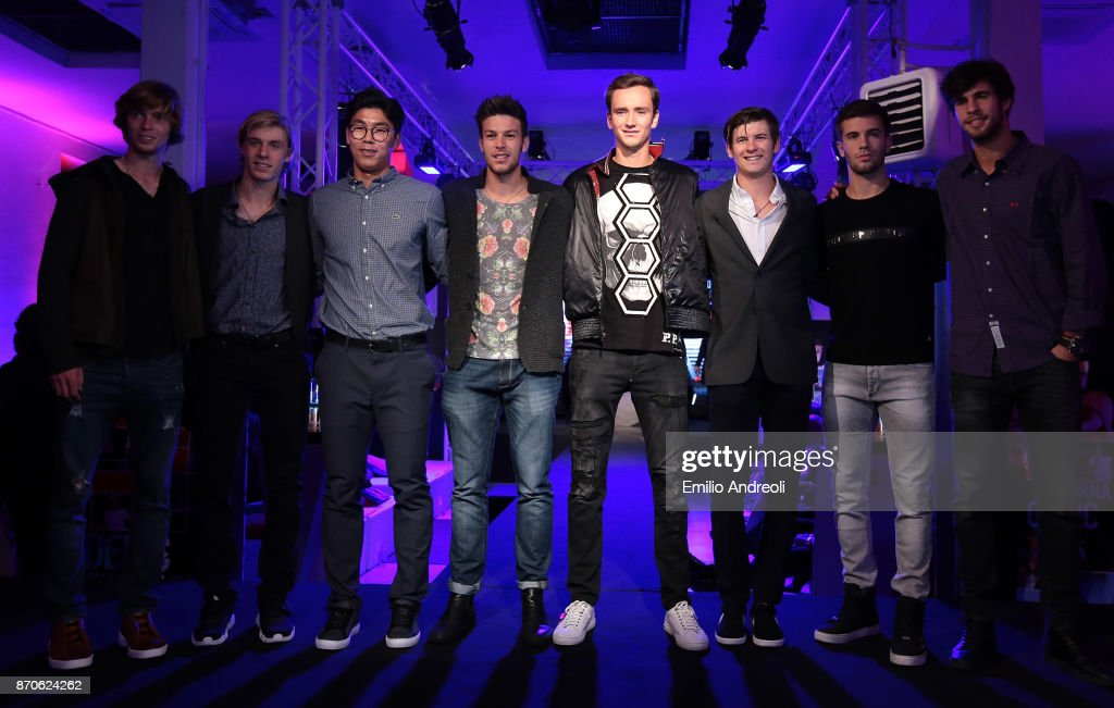 Andrey Rublev, Denis Shapovalov, Hyeon Chung, Gianluigi Quinzi, Daniil Medvedev, Jared Donaldson, Borna Coric and Karen Khachanov pose during the Next Gen ATP Final draw ceremony during the NextGen ATP Finals Launch Party on November 5, 2017 in Milan, Italy.