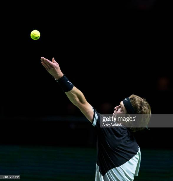 Andrey Rublev from Russia in action in his first round match against Lucas Pouille of France during day 3 of the ABN AMRO World Tennis Tournament...