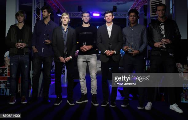 Andrey Rublev Karen Khachanov Denis Shapovalov Borna Coric Jared Donaldson Hyeon Chung and Daniil Medvedev pose during the Next Gen ATP Final draw...