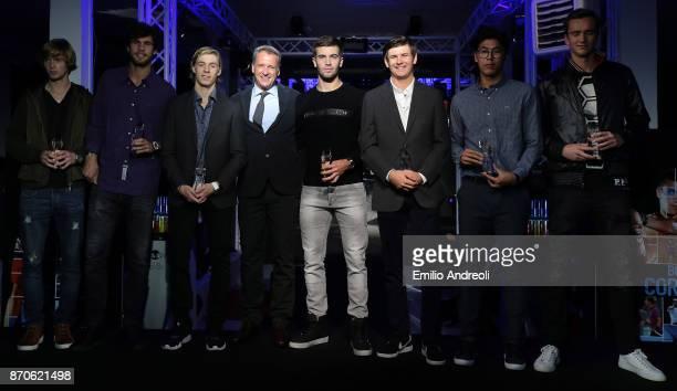 Andrey Rublev Karen Khachanov Denis Shapovalov Chris Kermode Borna Coric Jared Donaldson Hyeon Chung and Daniil Medvedev pose during the Next Gen ATP...