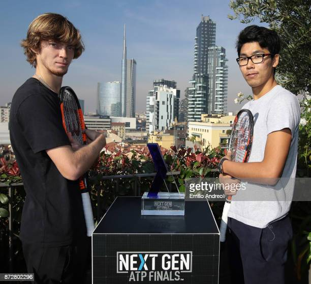 Andrey Rublev of Russia and Hyeon Chung of South Korea pose with the trophy prior to the mens final of the Next Gen ATP Finals on November 11 2017 in...