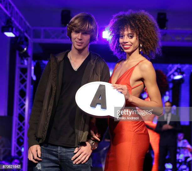 Andrey Rublev of Russia attends the Next Gen ATP Final draw ceremony during the NextGen ATP Finals Launch Party on November 5 2017 in Milan Italy