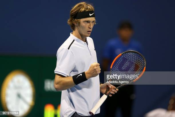 Andrey Rublev of Russia celebrates after scoring a point against Gael Monfils of France during the Qatar ExxonMobil Open 2018 Tennis Tournament Men's...