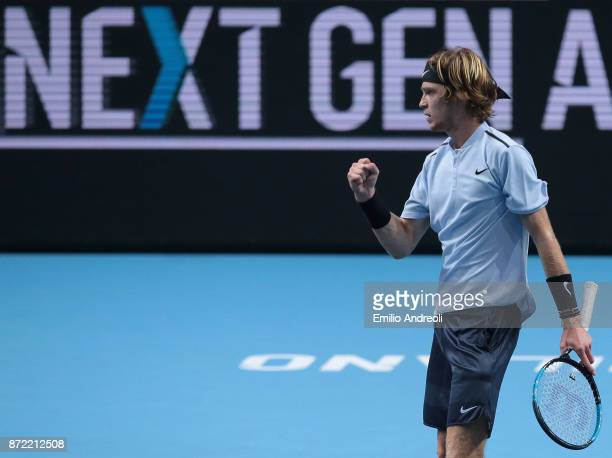 Andrey Rublev of Russia celebrates after win a set in his match against Denis Shapovalov of Canada during Day 3 of the Next Gen ATP Finals on...