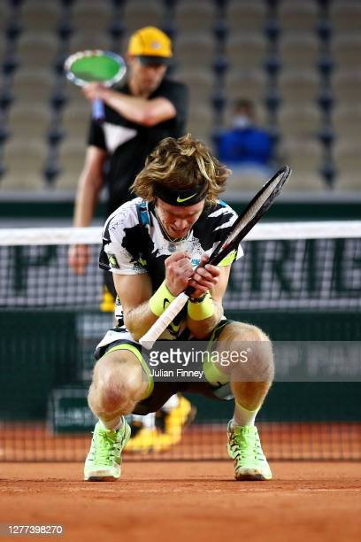 Andrey Rublev of Russia celebrates after winning match point during his Men's Singles first round match against Sam Querrey of the United States on...