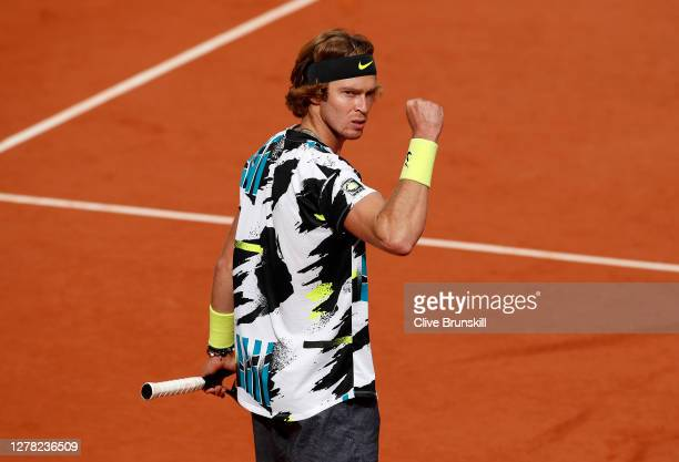 Andrey Rublev of Russia celebrates after winning match point during his Men's Singles third round match against Kevin Anderson of South Africa on day...
