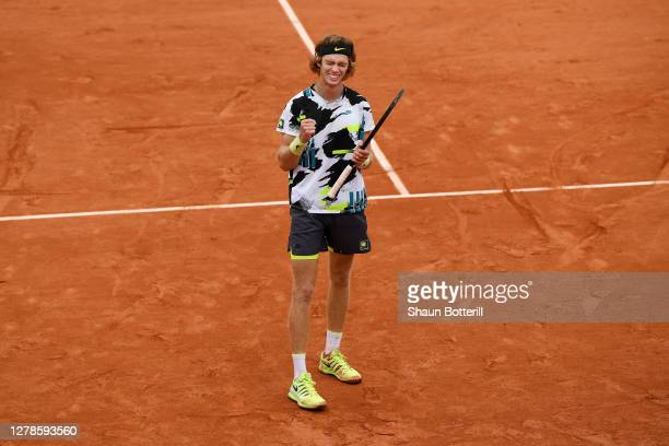 Andrey Rublev of Russia celebrates after winning match point during his Men's Singles fourth round match against Marton Fucsovics of Hungary on day...