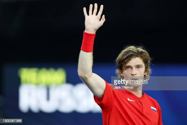 Andrey Rublev of Russia celebrates after winning match point in his Group D singles match against Yoshihito Nishioka of Japan during day two of the...