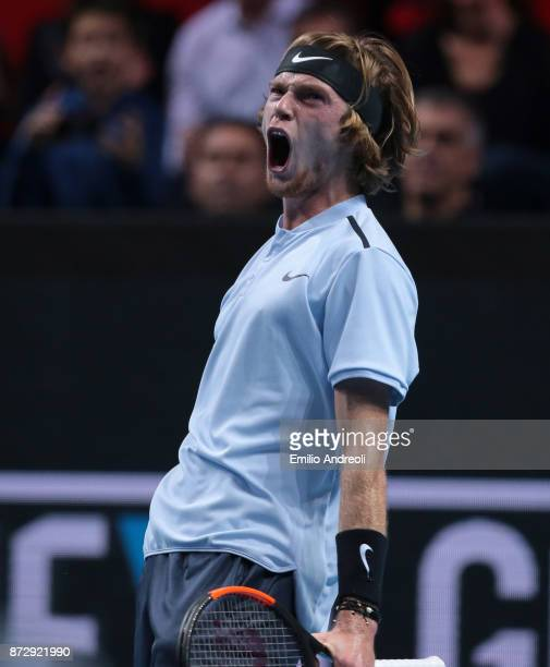 Andrey Rublev of Russia celebrates after winning the first set in his match against Hyeon Chung of South Korea during the mens final on day 5 of the...