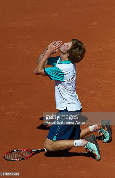 Andrey Rublev of Russia celebrates defeating Fernando Verdasco of Spain during day two of the Barcelona Open Bac Sabadell at the Real Club de Tenis...