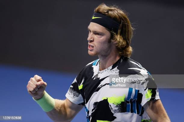Andrey Rublev of Russia celebrates during his ATP St Petersburg Open 2020 international tennis tournament final against Borna Coric of Croatia on...