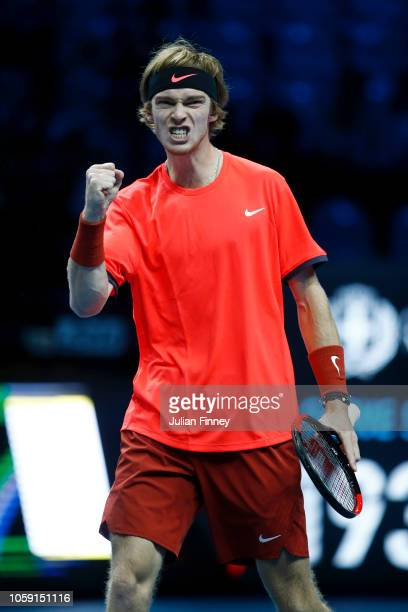 Andrey Rublev of Russia celebrates during his group match against Liam Caruana of Italy during Day Three of the Next Gen ATP Finals at Fiera Milano...