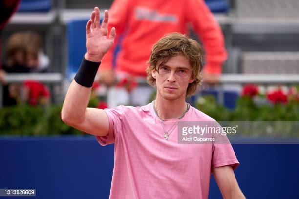 Andrey Rublev of Russia celebrates his victory against Albert Ramos-Vinolas of Spain in their third round match during day four of the Barcelona Open...