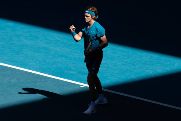 Andrey Rublev of Russia celebrates in his Men's Singles third round match against Feliciano Lopez of Spain during day six of the 2021 Australian Open...