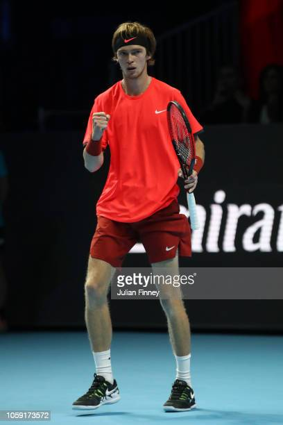 Andrey Rublev of Russia celebrates match point during his group match against Liam Caruana of Italy during Day Three of the Next Gen ATP Finals at...