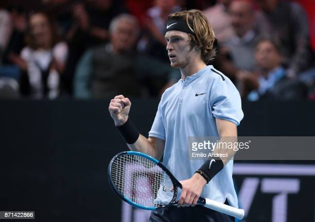 Andrey Rublev of Russia celebrates the victory at the end of his match against Gianluigi Quinzi of Italy during Day 1 of the Next Gen ATP Finals on...