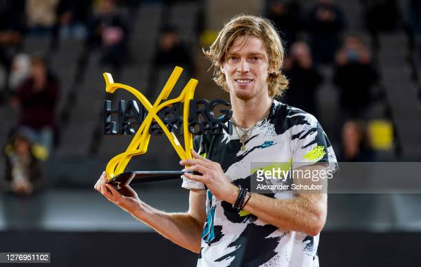 Andrey Rublev of Russia celebrates the victory during the final of the Hamburg Open 2020 at Rothenbaum on September 27, 2020 in Hamburg, Germany.