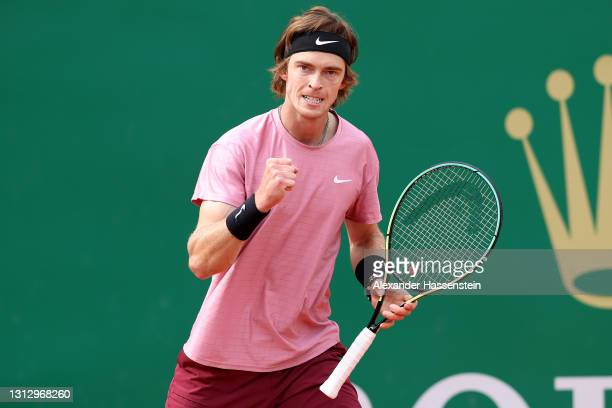 Andrey Rublev of Russia celebrates winning a point during the semi-final match against Casper Ruud of Norway on day seven of the Rolex Monte-Carlo...