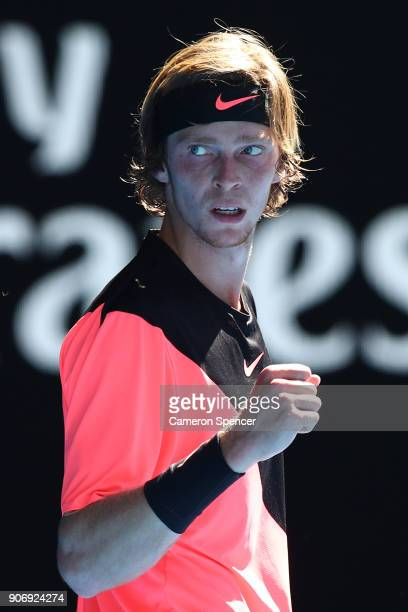 Andrey Rublev of Russia celebrates winning a point in his third round match against Grigor Dimitrov of Bulgaria on day five of the 2018 Australian...