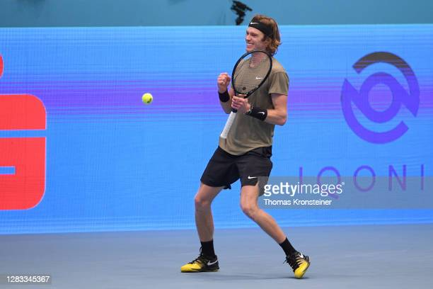 Andrey Rublev of Russia celebrates winning his final match against Lorenzo Sonego of Italy on day nine of the Erste Bank Open tennis tournament at...