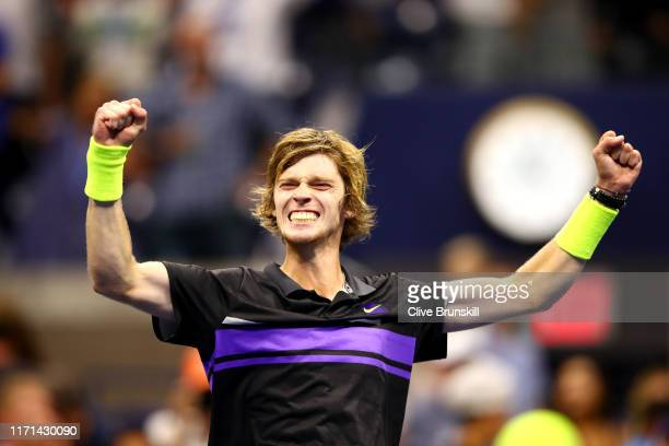 Andrey Rublev of Russia celebrates winning his Men's Singles third round match against Nick Kyrgios of Australia on day six of the 2019 US Open at...