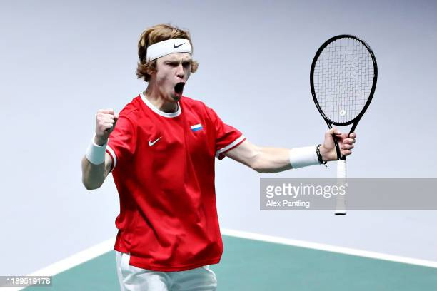 Andrey Rublev of Russia celebrates winning his semi final singles match against Vasek Pospisil of Canada during Day Six of the 2019 Davis Cup at La...