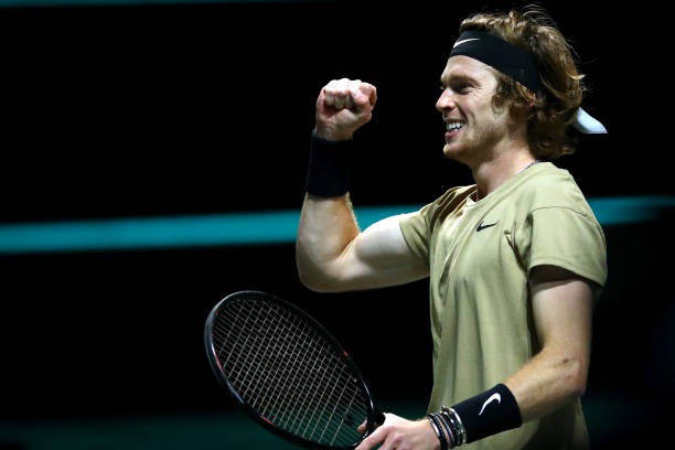 Andrey Rublev of Russia celebrates winning match point in the Mens Final match against Marton Fucsovics of Hungary during Day 7 of the 48th ABN AMRO...
