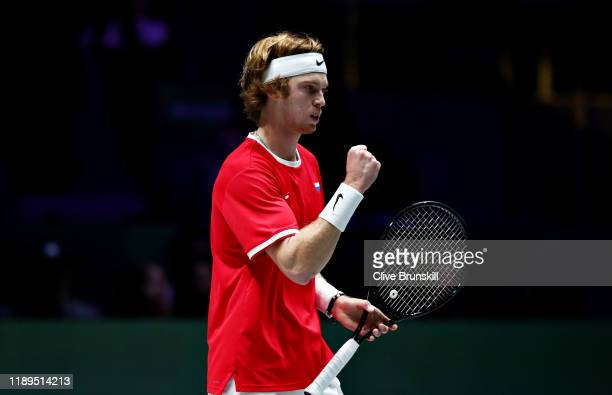Andrey Rublev of Russia celebrates winning the first set in his semi final singles match against Vasek Pospisil of Canada during Day Six of the 2019...