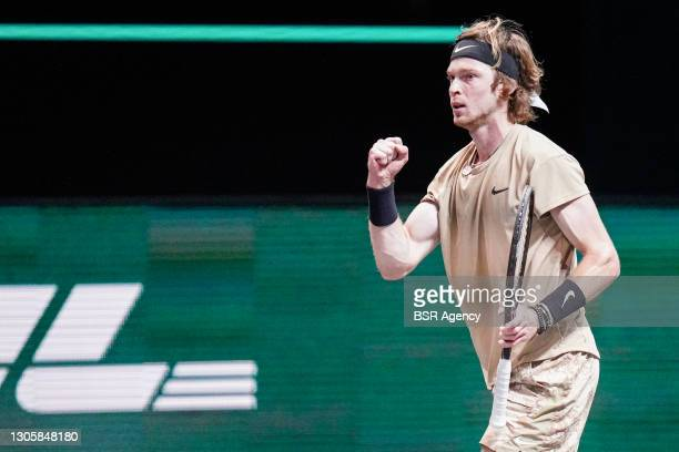 Andrey Rublev of Russia celebrating during his match against Marton Fucsovics of Hungary during the 48th ABN AMRO World Tennis Tournament at...