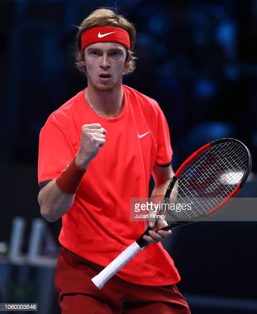 Andrey Rublev of Russia celeebrates a point against Jaume Munar of Spain in the 3rd/4th match during Day Five of the Next Gen ATP Finals at Fiera...
