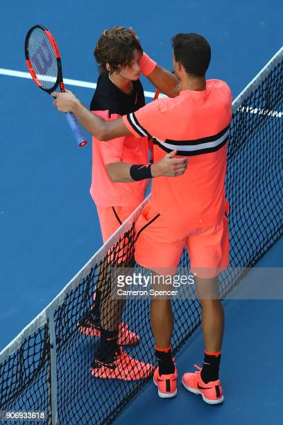 Andrey Rublev of Russia congratulates Grigor Dimitrov of Bulgaria after Dimitrov won their third round match on day five of the 2018 Australian Open...