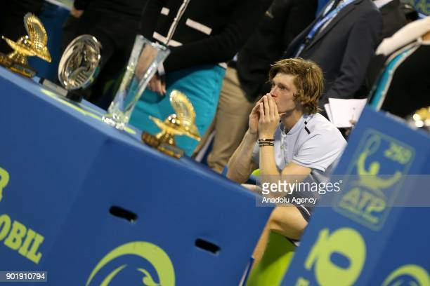 Andrey Rublev of Russia gestures after losing to Gael Monfils of France in the Qatar ExxonMobil Open 2018 Tennis Tournament Men's Final match...