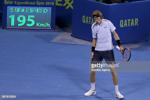 Andrey Rublev of Russia gestures during the Qatar ExxonMobil Open 2018 Tennis Tournament Men's Final match against Gael Monfils of France organised...