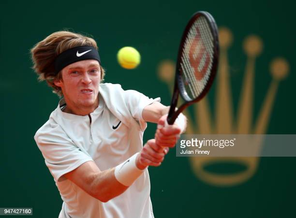 Andrey Rublev of Russia hits a backhand return during his Mens Singles match against Dominic Thiem of Austria at MonteCarlo Sporting Club on April 17...