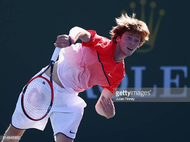 Andrey Rublev of Russia in action action against Michael Berrer of Germany during day three of the BNP Paribas Open at Indian Wells Tennis Garden on...