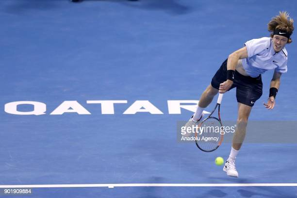 Andrey Rublev of Russia in action against Gael Monfils of France during the Qatar ExxonMobil Open 2018 Tennis Tournament Men's Final match organised...